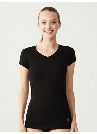 U.S. Polo Assn. Kadın Kısa Kollu V Yaka T-Shirt Siyah